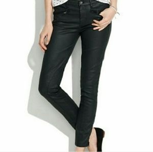 Madewell Coated Moto Ankle Zip Jeans